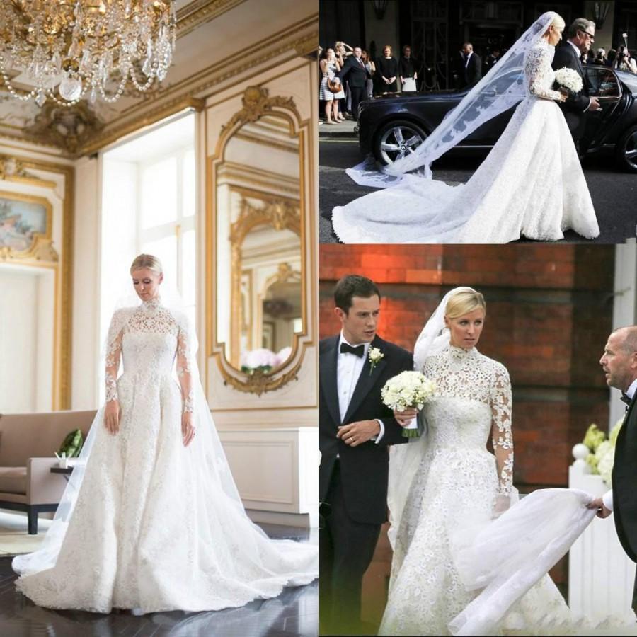 Exquisite 2016 Fall Winter Arabic Wedding Dresses High Neck Long ...