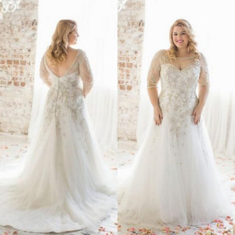 Charming Plus Size Wedding Dresses With Half Sleeves Illusion A Line ...