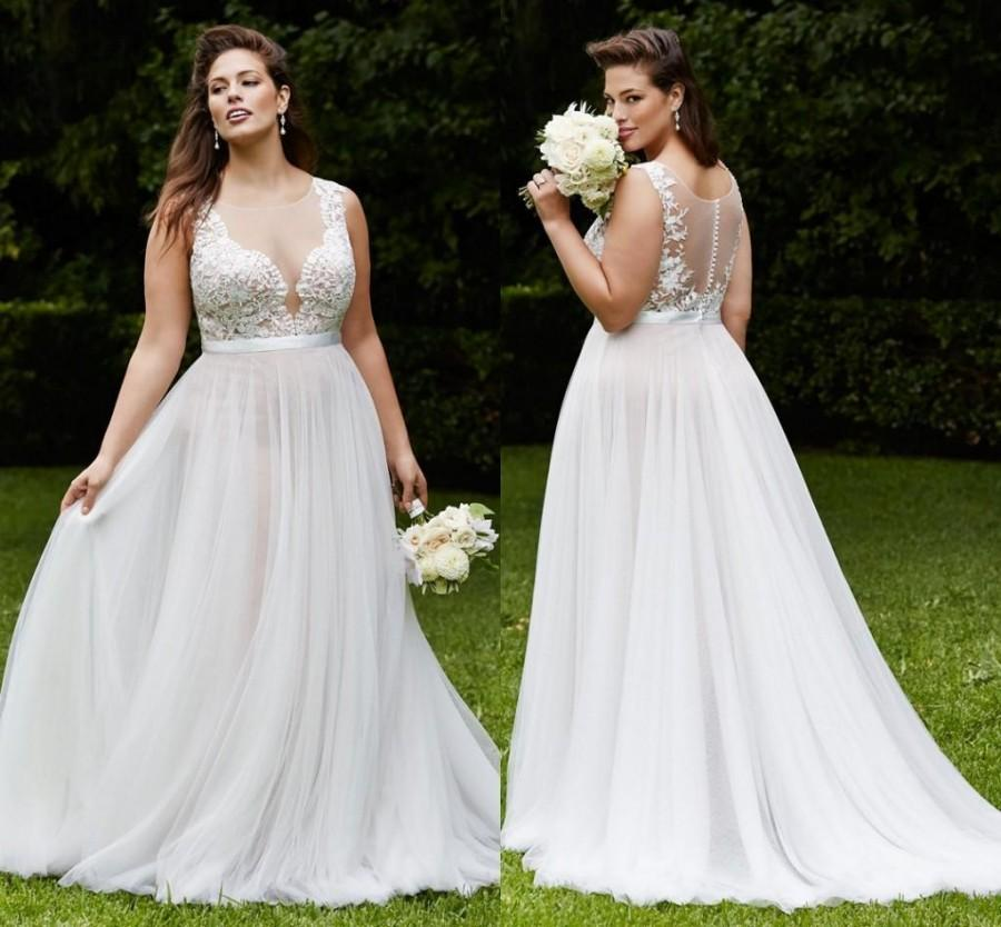 Amzing Plus Size Lace Wedding Dresses Beach Chiffon Gowns With Sheer Illusion
