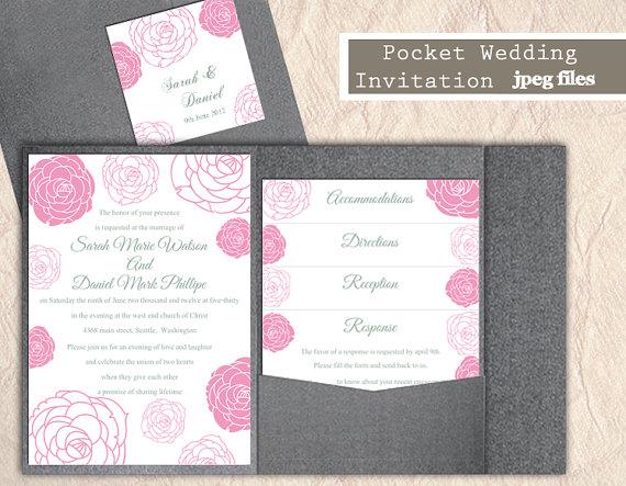 Wedding - Printable Pocket Wedding Invitation Suite Printable Invitation Floral Rose Invitation Pink Invitation Download Invitation Edited jpeg file