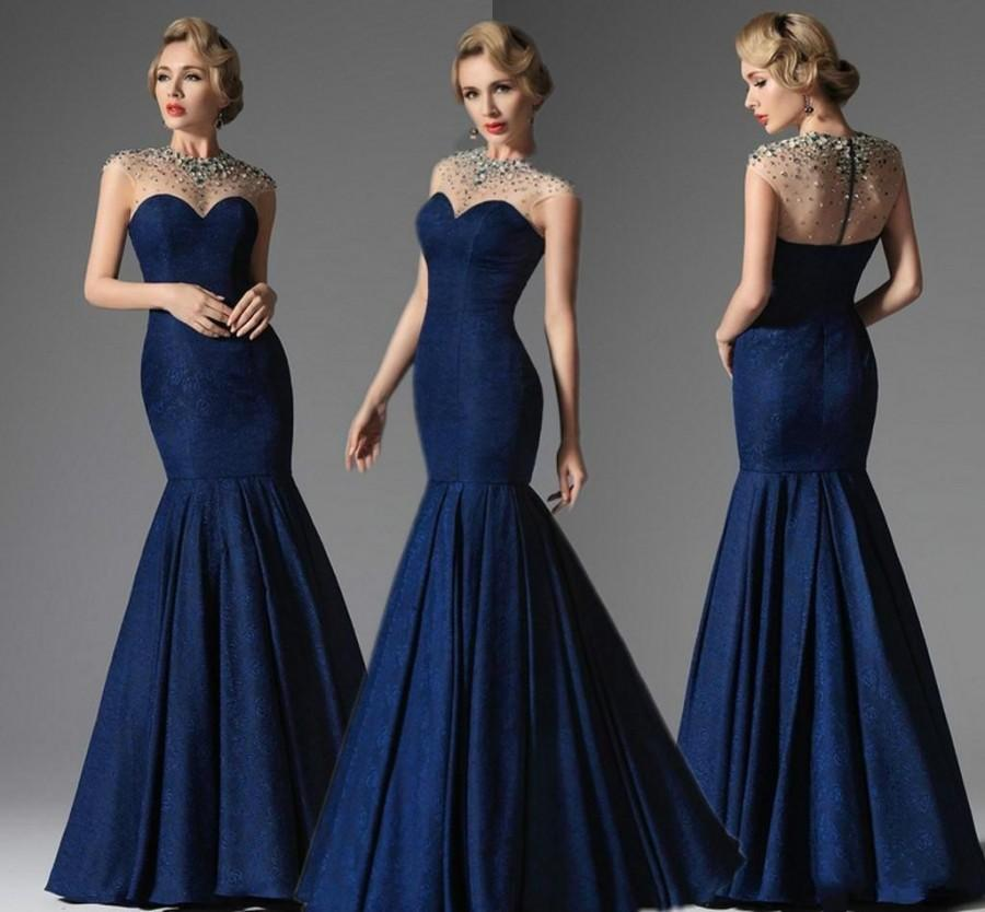 c48b035828e Sexy Dark Blue Crystal Beaded Evening Dresses Formal Gowns Lace Party Crew  Cap Sleeve Mermaid Floor Length Formal Mother Of The Brides Dress Online  with ...