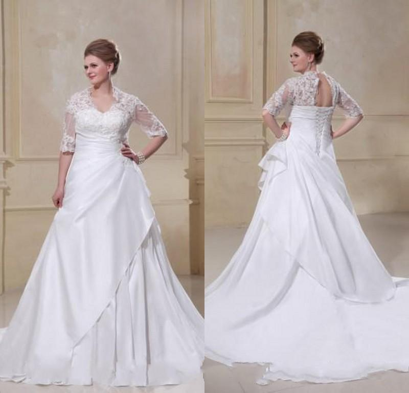 Vintage lace applique plus size wedding dresses 2016 for Plus size illusion wedding dress