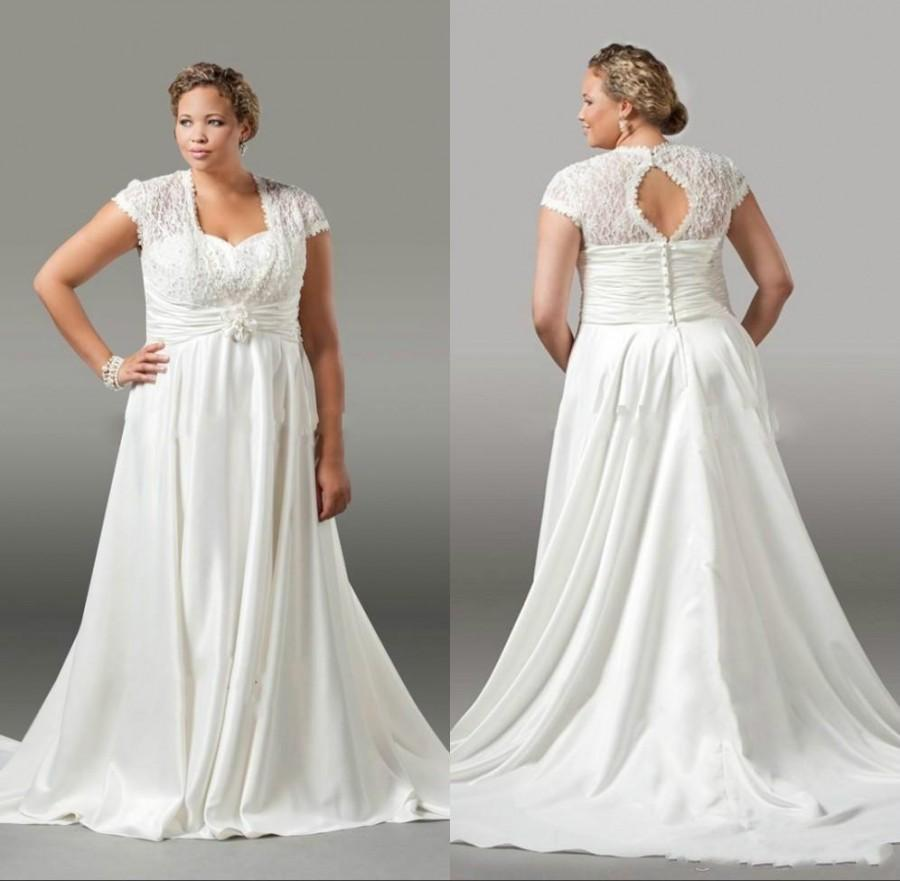 White A Line Wedding Dresses : Elegant plus size wedding dresses lace pleated spring