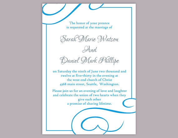 diy wedding invitation template editable word file instant download