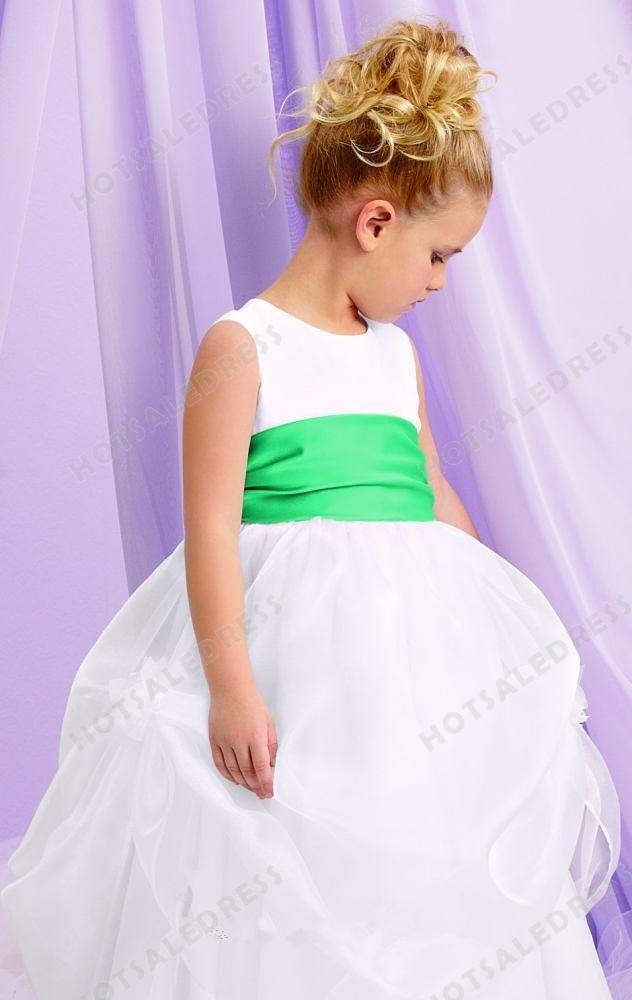 Wedding - Sleeveless Tulle Organza Flower Girl Gown L132