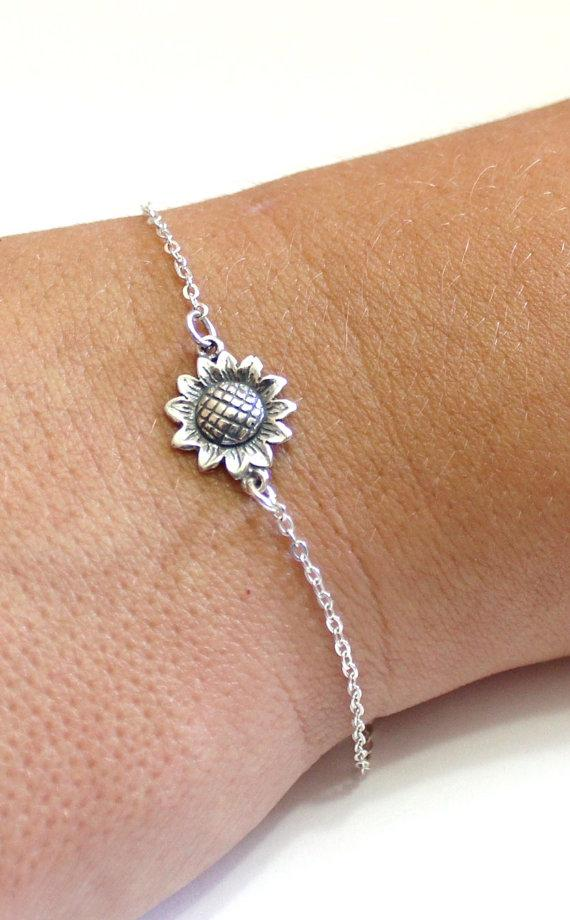Wedding - Sterling Silver Sunflower Bracelet, Sunflower Bracelet, Bridesmaid Jewelry, Sunflower Jewelry, Summer Jewelry, sun flower