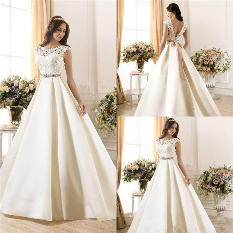 New Arrival Sheer Lace 2015 Wedding Dresses A Line Satin Beads Sash