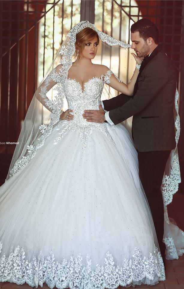 Exquisite long sleeve sheer lace wedding dresses illusion for Plus size illusion wedding dress