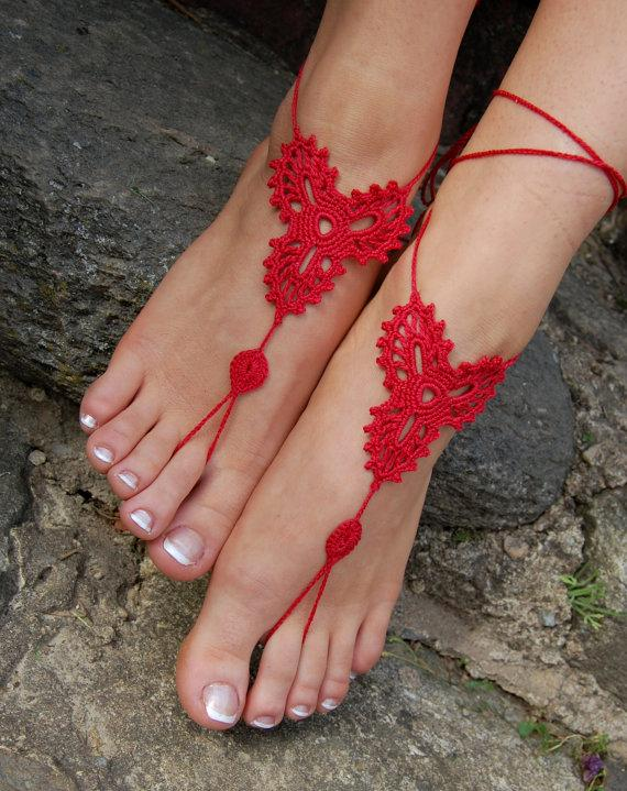Beach wedding barefoot sandal crochet confirm. agree