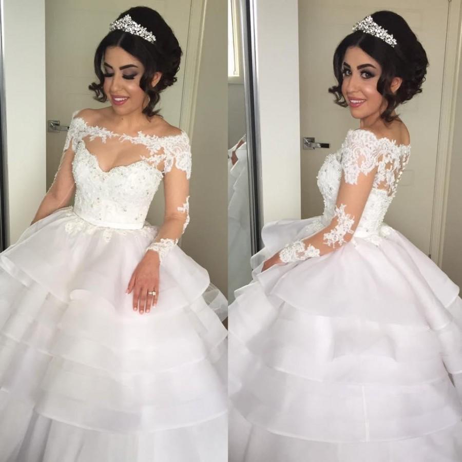wedding dresses applique long sleeve bridal gown button cover lace