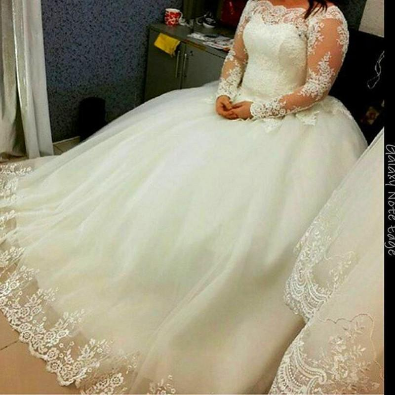 Boda - Real Image Lace Sheer Wedding Dresses 2015 Long Sleeve Illusion Bateau Applique Chapel Train Church Garden Bridal Ball Gown Plus Size Custom Online with $137.96/Piece on Hjklp88's Store