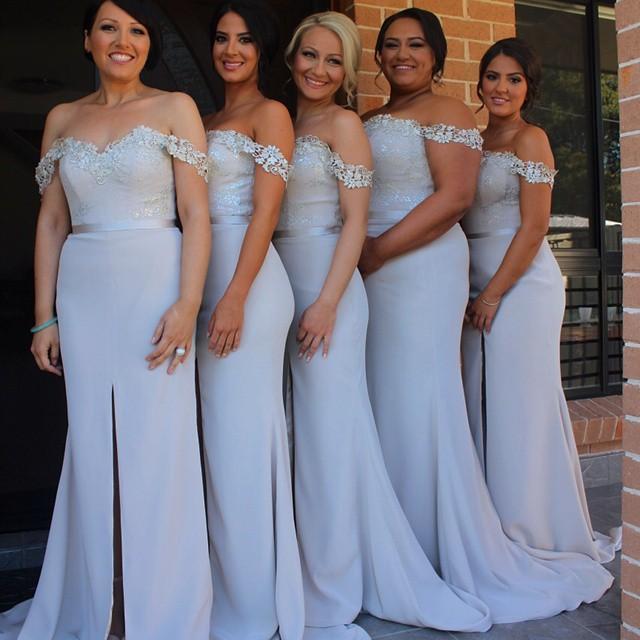 Modest 2015 Mermaid Lace Bridesmaid Dresses Off Shoulder Satin ...