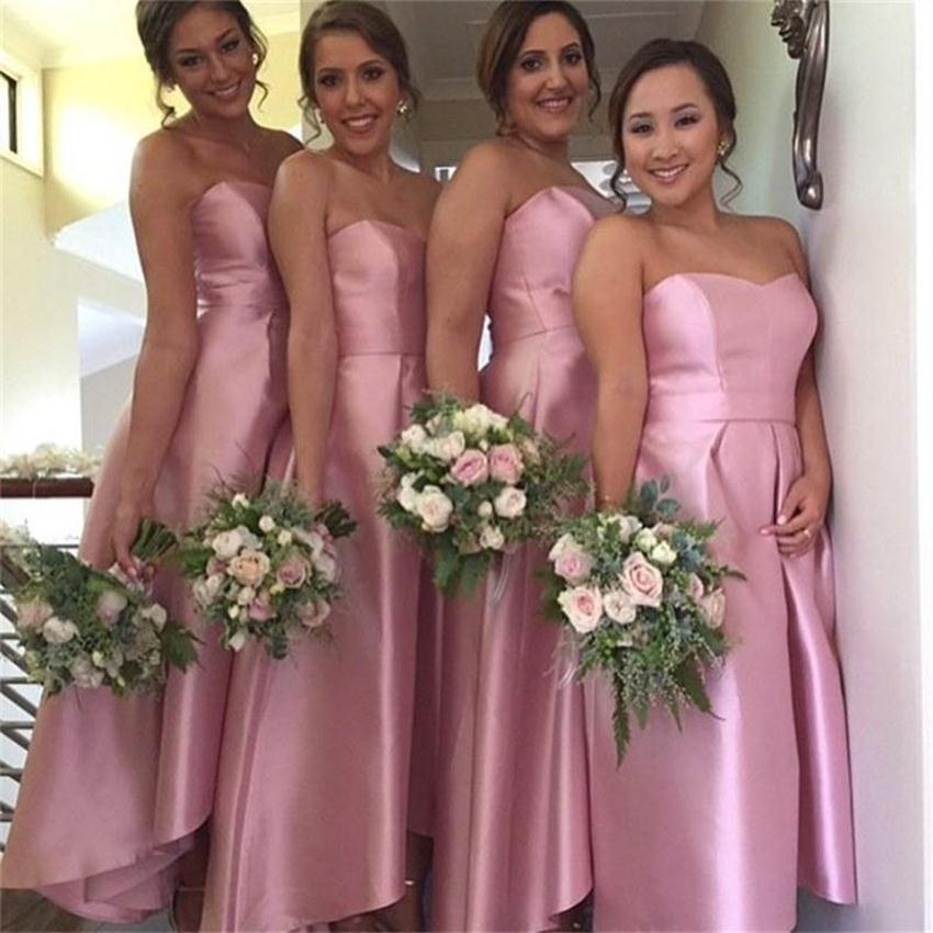 Fashion Cheap Plus Size Bridesmaid Dresses 2015 Strapless Ankle