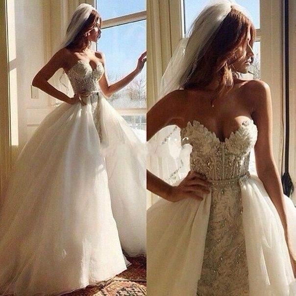 Ball Gown Wedding Dresses With Train : Beaded crystals wedding dresses with detachable bridal ball gown train
