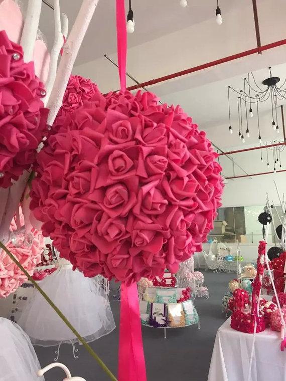 "Wedding - 9"" Fuschia Kissing Ball Foam Flowers Pomanders For Wedding Centerpieces Decor Bridal Shower Fuschia Flower Ball"