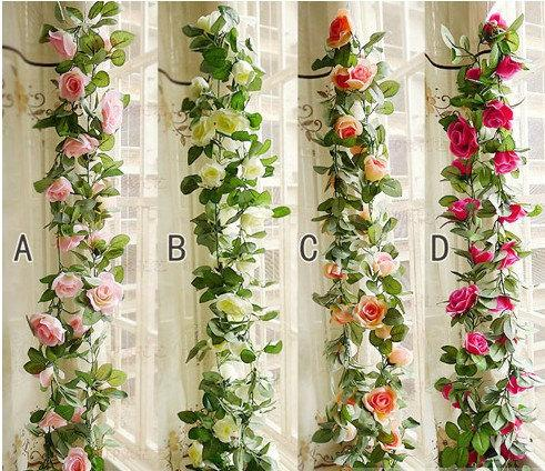 Wedding - 2pcs 2.5 Meters Flower Ivy Garland Artificial Silk ROSE Fake Flower Ivy Leaf Garland Plants Home Hanging Wedding Decor