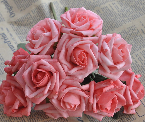 72 Pcs Artificial Flowers Coral Pink Wedding Flowers Supplies Fake