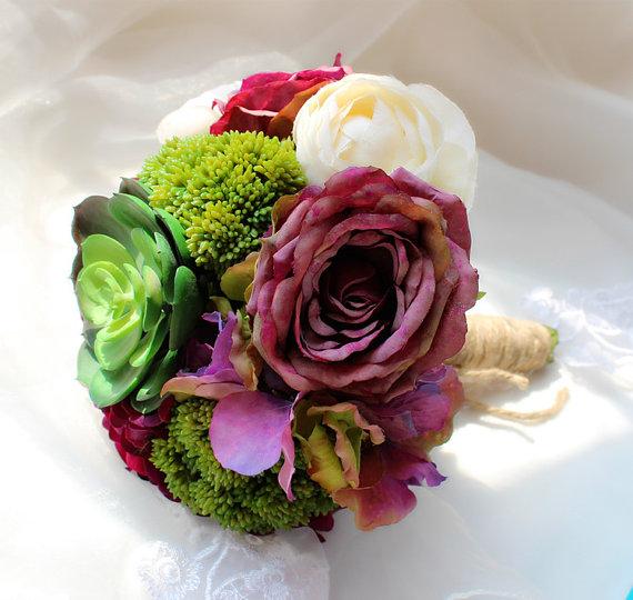 Mariage - Faux Mini Succulents Bouquet Silk Hydrangea Rose Elegant Peony Bouquet Vintage Purple Bridal Bouquet