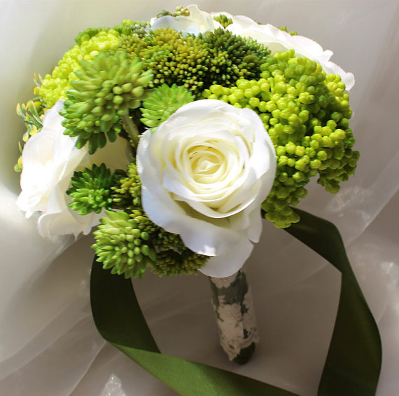 Wedding - Faux Green Succulent Bouquet Large Cream Roses Bouquet Ribbon Lace Wrapped Mini Succulents Bouquet