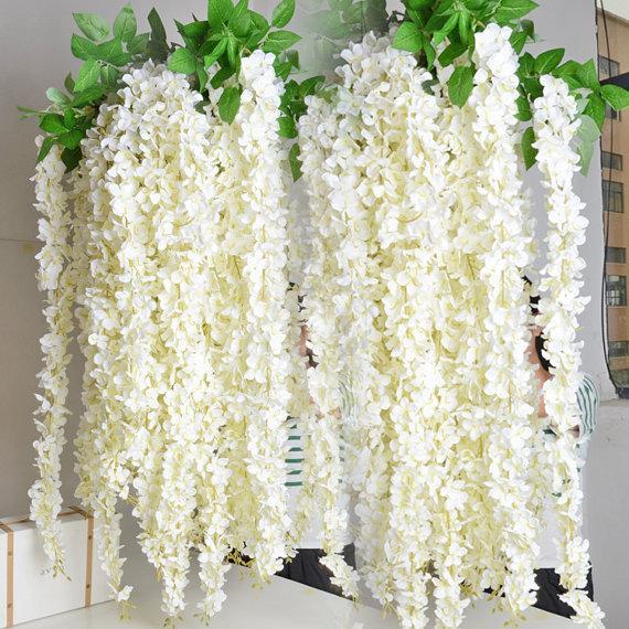 5pcs 70 white wisteria garland for outdoor wedding ceremony decor silk wisteria vine wedding arch floral decor
