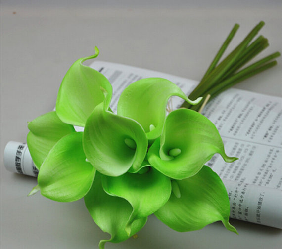 10pcs Lime Green Calla Lily Bouquet Real Touch Flowers For Bridal ...