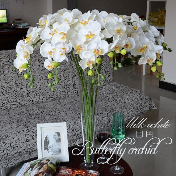5pcs White Orchids Artificial Flowers For Wedding Table Centerpieces
