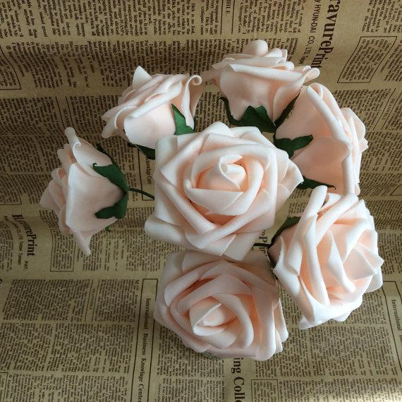 Hochzeit - 20 pcs Artificial Wedding Flowers Light Champagne Real Touch Foam Roses For Bridal Bouquet Wedding Table Centerpiece
