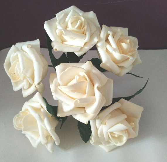 36 Pcs Light Champagne Roses Artificial Flowers For Wedding