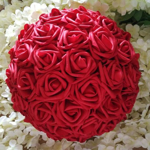 Quot red kissing balls pomanders foam rose flower
