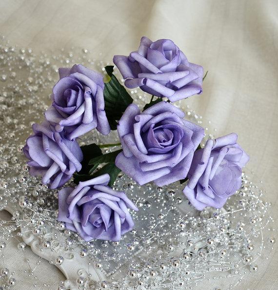 72 Pcs Light Purple Flowers Lavender Wedding Decorations Table Centerpiece Fake Roses For Bridal Bouquet