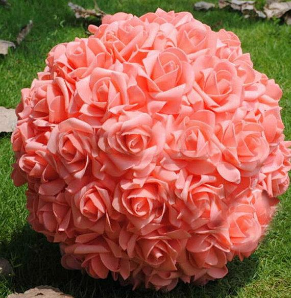 9 coral kissing ball rose pomanders for wedding centerpieces 9 coral kissing ball rose pomanders for wedding centerpieces bridal shower coral wedding decorations junglespirit Images