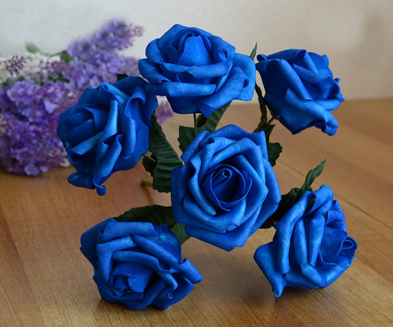 12 Bunches Royal Blue Artificial Flowers Foam Roses For Brides