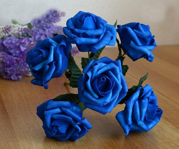 Hochzeit - 12 Bunches Royal Blue Artificial Flowers Foam Roses For Brides Bridesmaids Bouquet Wedding Decorations