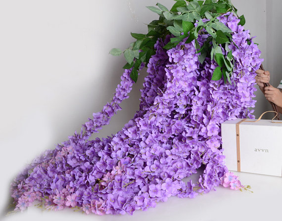 5pcs 64 Artificial Silk Wisteria Light Purple Lavender Home Garden Hanging Flowers Plants Wedding Vine Decor