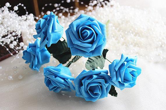 Wedding - 72 pcs Multi-color Wedding Center Pieces Flowers Artificial Roses For Bridal Bouquet Floral Wedding Decor Centerpieces