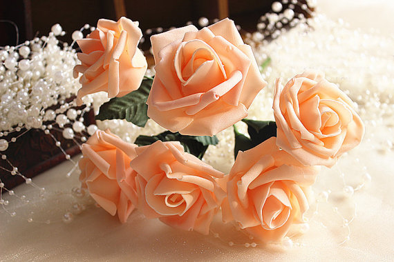Wedding - 72 pcs Champagne Artificial Flowers Foam Roses For Table Centerpiece Bridal Bouquet Wedding