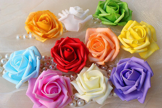 Wedding - 100 Pomander Kissing Ball Flowers 6-7cm Foam Rose Heads Various Colors Wedding Home Decorative flowers