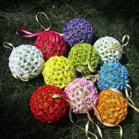 "Wedding - 6"" Flower Girl Kissing Balls Pomander Silk Mini Gerbera Daisy Sunflower Kissing Balls For Wedding Event Party Decoration"
