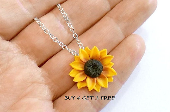 Mariage - Sunflower Necklace - Sunflower Jewelry - Gifts - Yellow Sunflower Bridesmaid, Sunflower Flower Necklace, Bridal Flowers, Bridesmaid Necklace