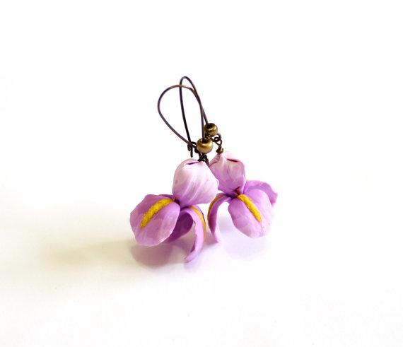 Mariage - Purple Iris Flower Earrings Bridesmaid Gift, Bridesmaid Earring set, Purple Earrings, Perfect For Bride