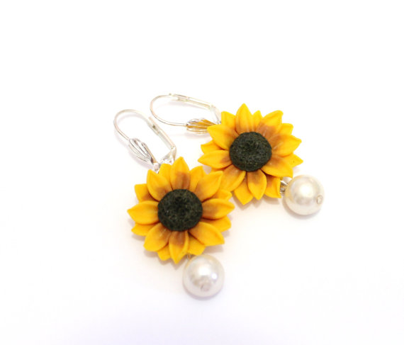 Mariage - Yellow Sunflower Drop Earrings,Yellow Flower Drop Earrings, Jewelry Yellow Sunflower, Wedding Earrings, Summer Jewelry, Bridesmaid Jewelry