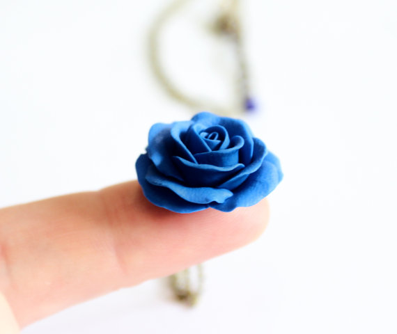 Wedding - Blue Rose Necklace - Blue Pendant, Rose Charm, Valentine, Love Necklace, Bridesmaid Necklace, Flower Girl Jewelry, Blue Bridesmaid Jewelry
