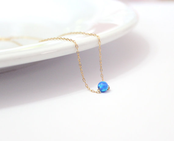 Mariage - Opal necklace, opal bead necklace, gold filled necklace, tiny opal necklace ,ball necklace, dot opal necklace