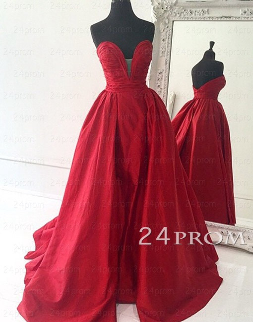 Mariage - Custom Made Red Sweetheart Long Prom Gown,Prom Dress - 24prom