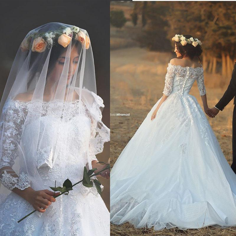 Wedding - Elegant Lace Sheer Fall Wedding Dresses 2015 A-Line Illusion White Half Sleeve Appliques Ball Gown Chapel Length Sheer Bridal Dresses Online with $135.29/Piece on Hjklp88's Store