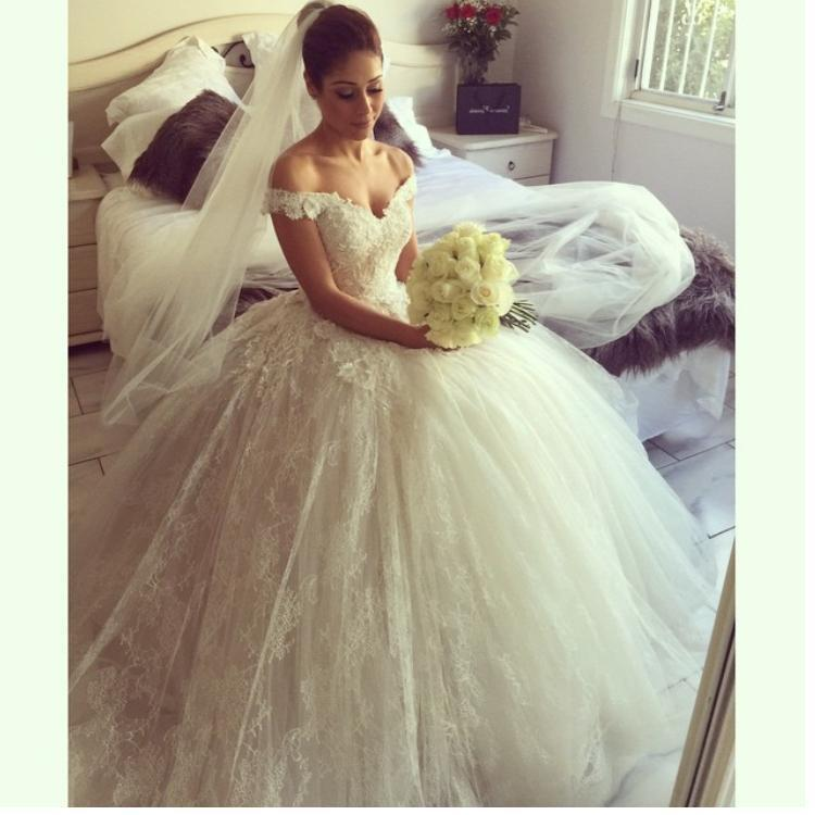 Wedding - New Arrival Layers Lace Wedding Dresses Spring 2015 Ball Gowns Bridal Dresses Ball Gown Lace Off Shoulder Applique Luxury Chapel Train Online with $145.97/Piece on Hjklp88's Store