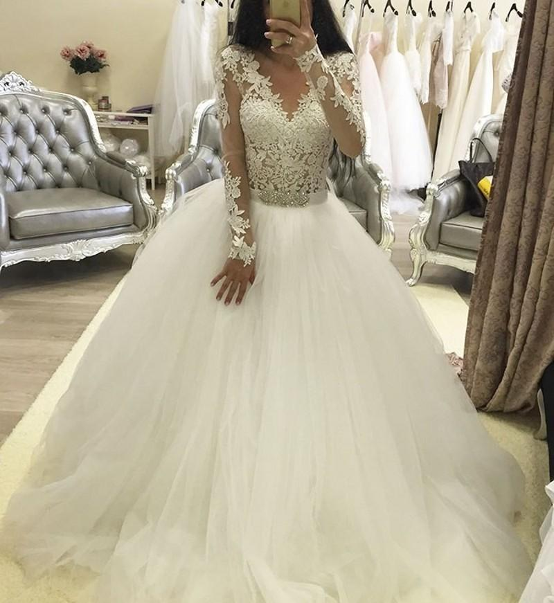 Mariage - Vintage Lace 2015 Wedding Dress With Long Sleeves Sheer Scoop Applique Tulle Chapel Train Bridal Dresses Ball Gowns A-Line Vestido De Novia Online with $129.95/Piece on Hjklp88's Store