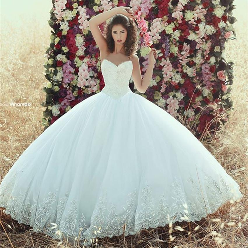 Elegant Saudi Arabic Lace Bodice Ball Gown Wedding Dresses Tulle ...
