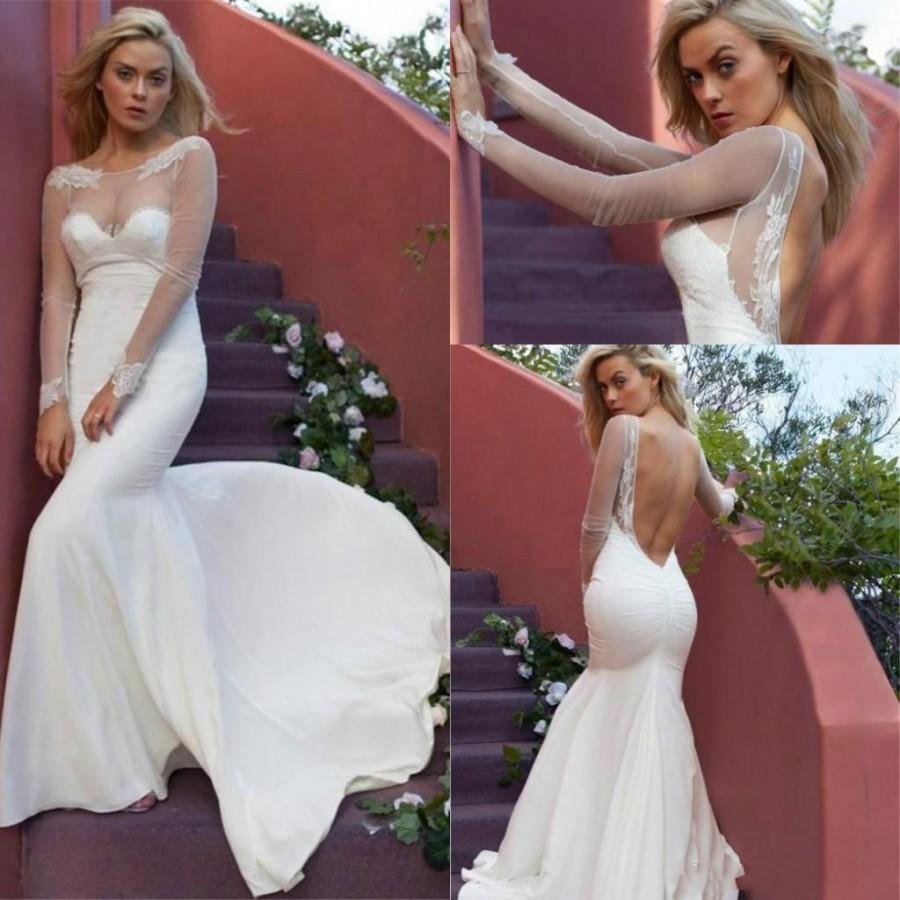 Wedding - Sexy Spring Mermaid Wedding Dresses with Long Sleeves Summer 2016 Illusion Sheer Jewel Neck Backless Lace Applique Bridal Gowns Train Online with $127.28/Piece on Hjklp88's Store