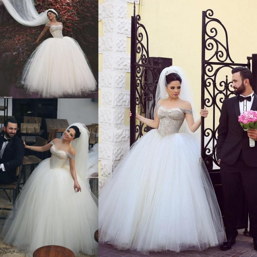 Wedding - Exquisite 2015 Wedding Dresses Train Arbic Off Shoulder Crystals Beaded Tulle Bridal Gowns Beads Chapel Length Wedding Ball Custom Made Online with $140.63/Piece on Hjklp88's Store